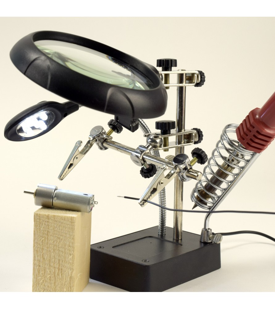 Third Hand with 3 Magnifying Glasses and 5 LED Lights